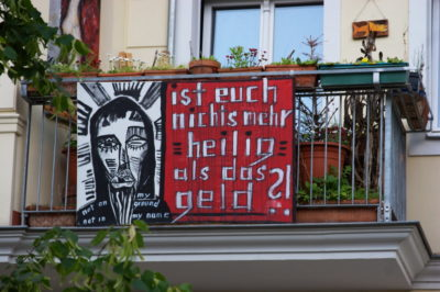 Dating and Politics: A placard on a balcony