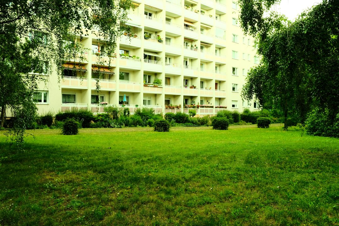 East German Prefab apartment block in Potsdam shot with simulated cross process
