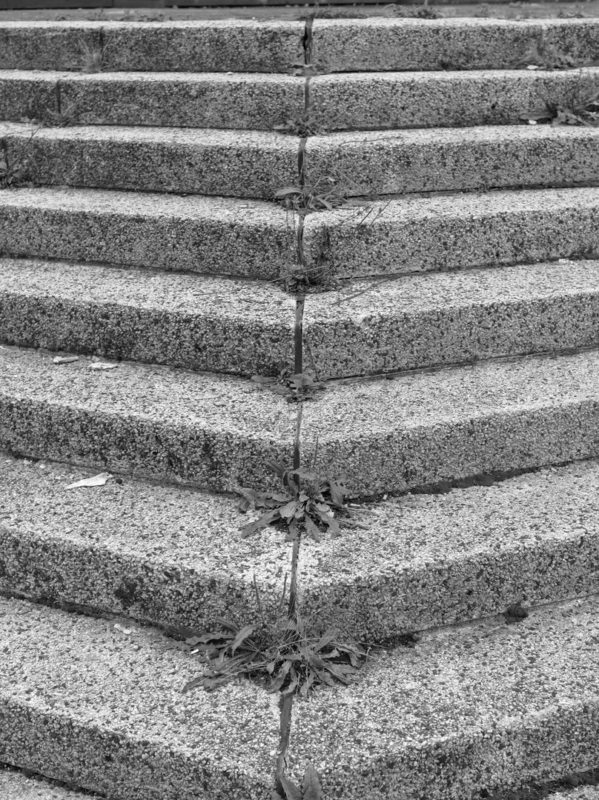 concrete stairs in black and white