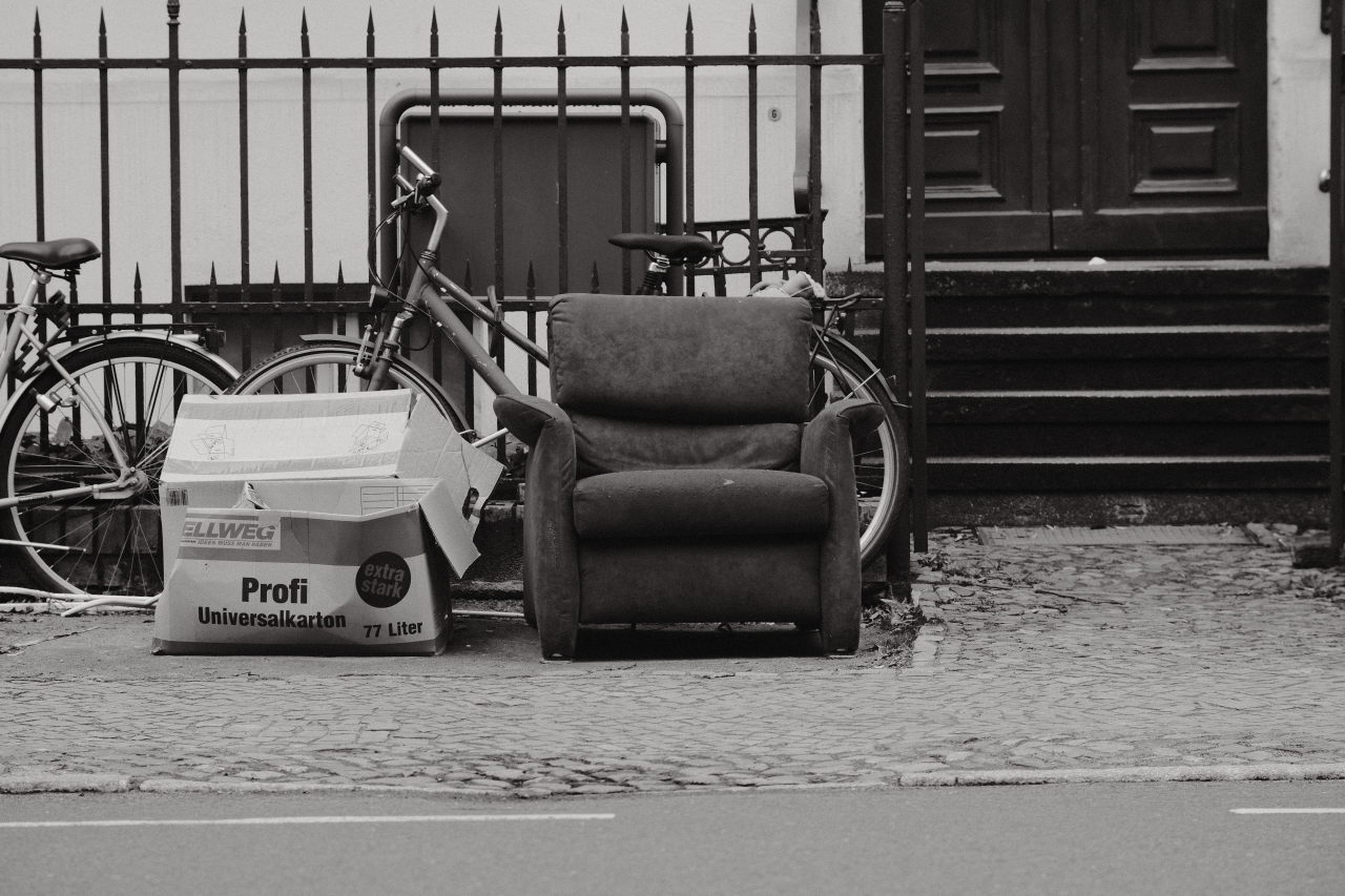 an old chair on the street