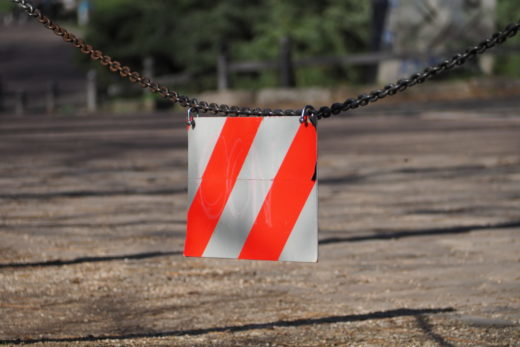 a checkered sign (hold on)